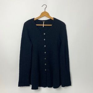 FREE PEOPLE black button up swing cardigan